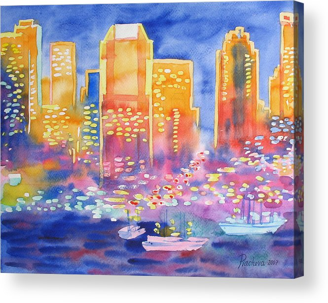 Landscape Acrylic Print featuring the painting New York Great City Silhouettes.2007 by Natalia Piacheva