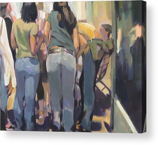 New York Cityscape Showing Teenagers On The Street Acrylic Print featuring the painting New York Kids by Merle Keller