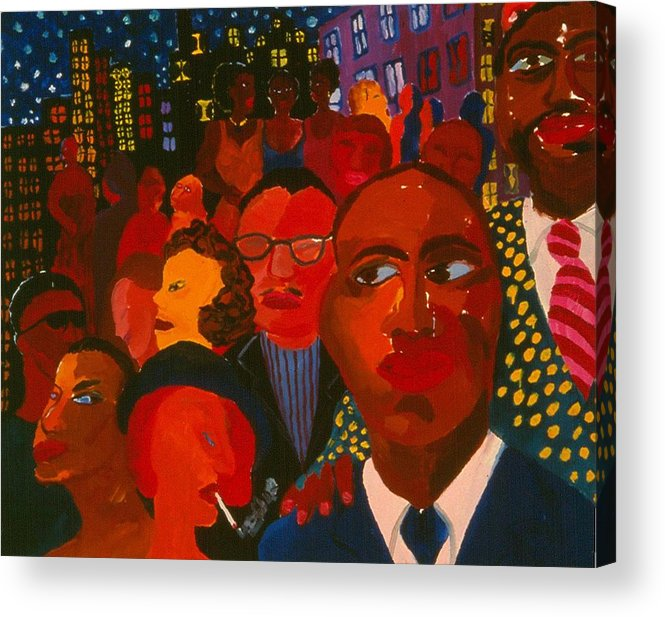 People Of All Kinds Against Night Cityscpe With Sparkeling Stars. Acrylic Print featuring the painting Nightpeople by Nina Talbot