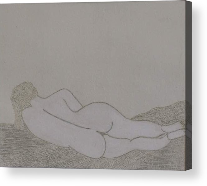 Nude Study; Silver Point Acrylic Print featuring the drawing No.322 by Vijayan Kannampilly