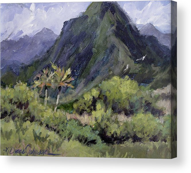 Hawaii Mountain Acrylic Print featuring the painting Oahu Valley by L Diane Johnson