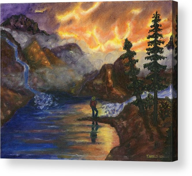 Mountains Acrylic Print featuring the painting Observation of Beauty by Tanna Lee M Wells