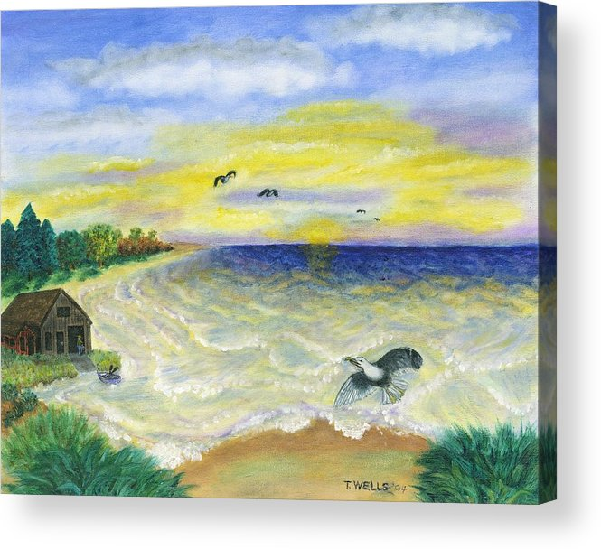 Ocean Acrylic Print featuring the painting Ocean Delight by Tanna Lee M Wells