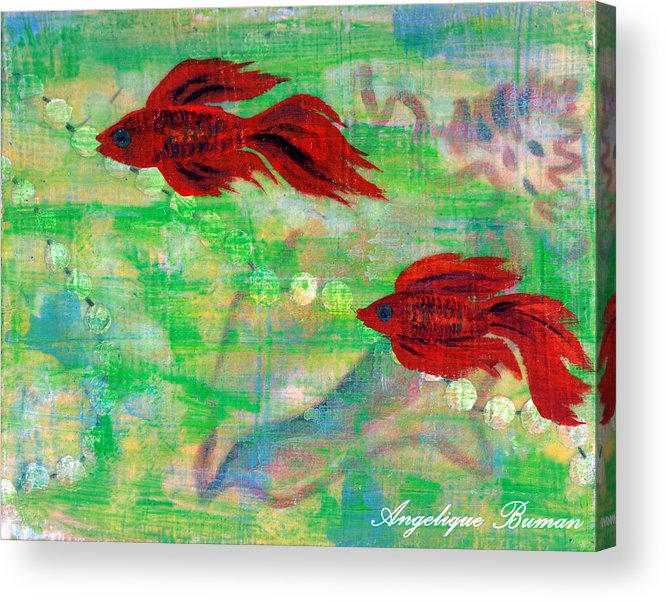 Animals Acrylic Print featuring the painting Ocean Layers by Angelique Bowman
