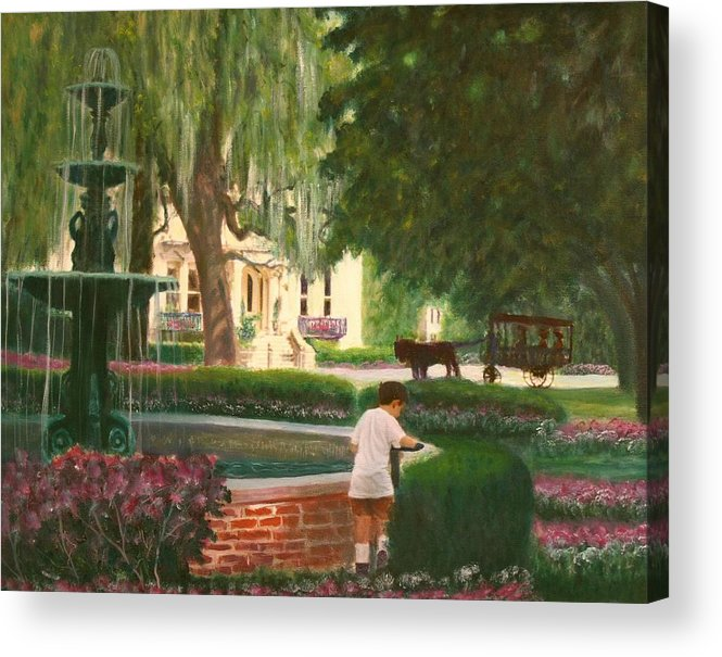 Savannah; Fountain; Child; House Acrylic Print featuring the painting Old And Young Of Savannah by Ben Kiger