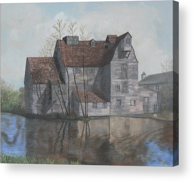 Grain Mill Acrylic Print featuring the painting Old English Mill by Dan Bozich