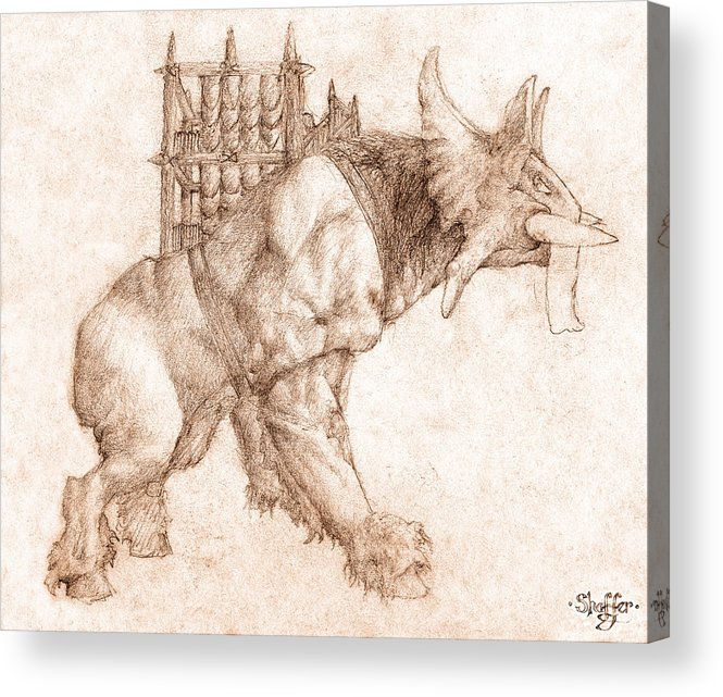 Lord Of The Rings Acrylic Print featuring the drawing Oliphaunt by Curtiss Shaffer