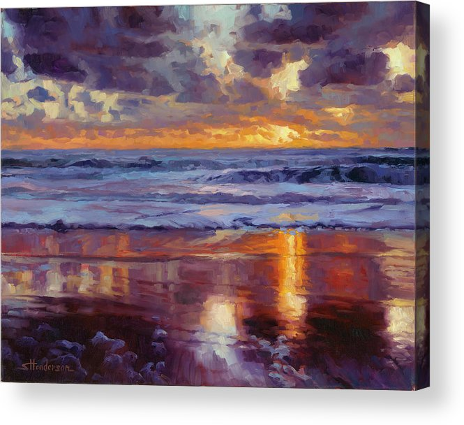 Ocean Acrylic Print featuring the painting On the Horizon by Steve Henderson