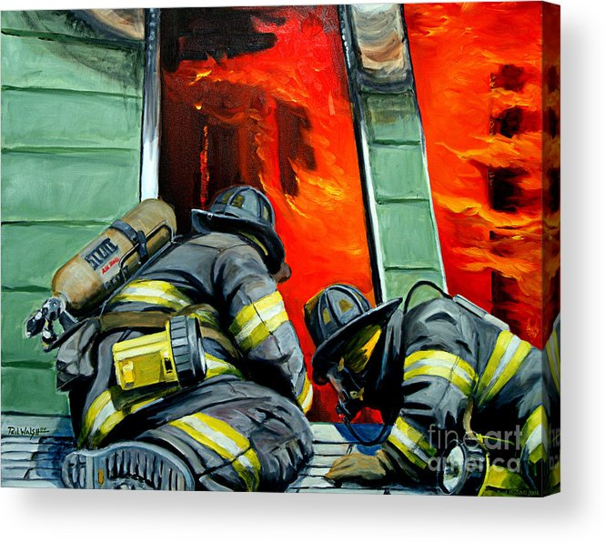 Firefighting Acrylic Print featuring the painting Outside Roof by Paul Walsh