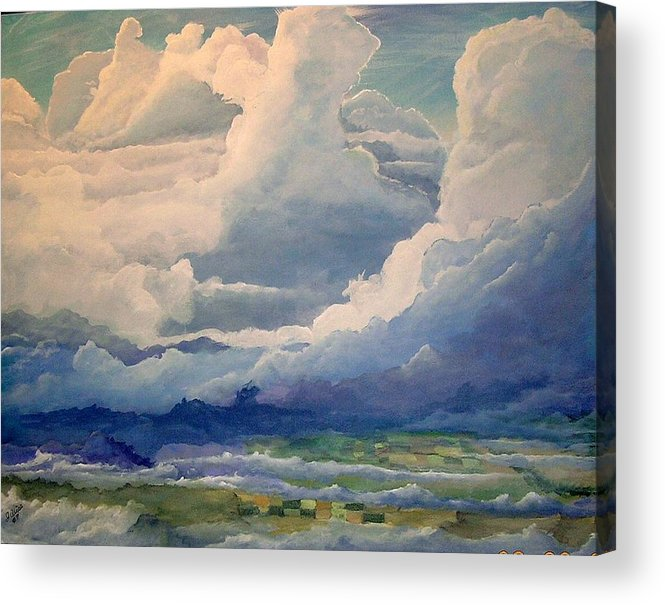 Clouds Acrylic Print featuring the painting Over Farm Land by John Wise