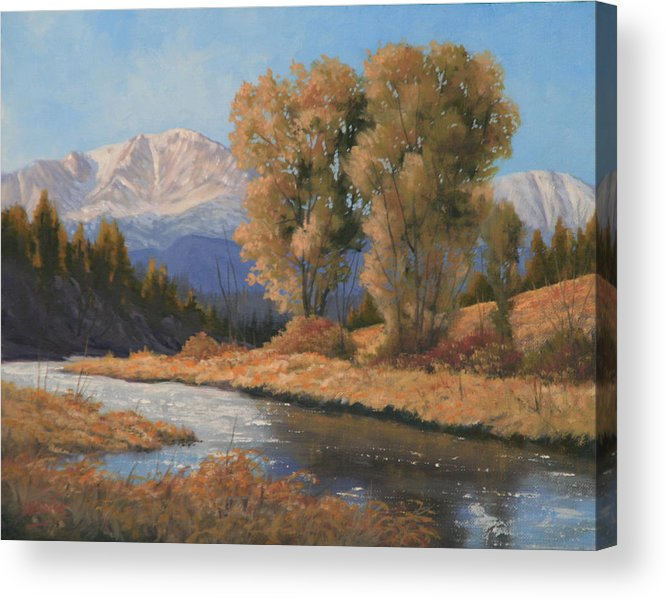 Pikes Peak Acrylic Print featuring the painting Pikes Peak and Cottonwoods 120418-1114 by Kenneth Shanika