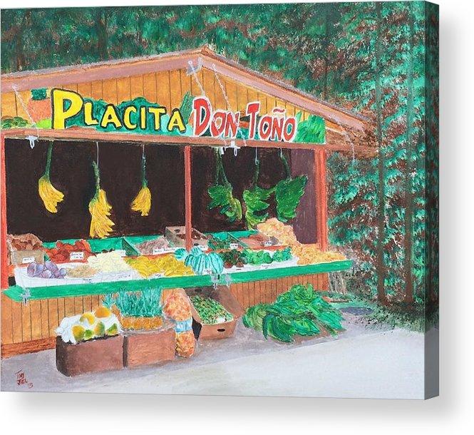 Placita Acrylic Print featuring the painting Placita by Tony Rodriguez