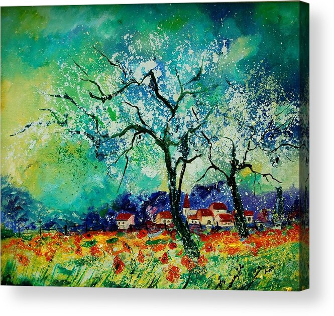 Landscape Acrylic Print featuring the painting Poppies and appletrees in blossom by Pol Ledent