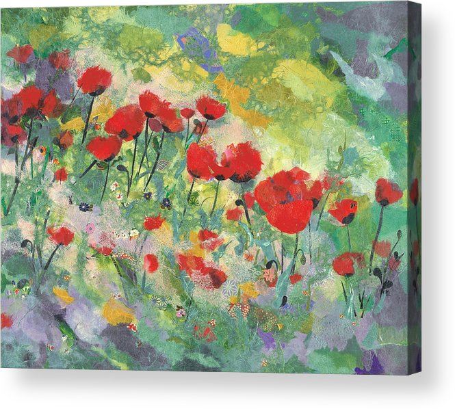 Red Poppies Acrylic Print featuring the painting Poppies field by Nira Schwartz