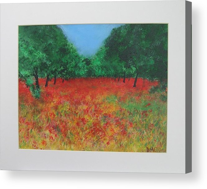 Poppy Acrylic Print featuring the painting Poppy Field In Ibiza by Lizzy Forrester