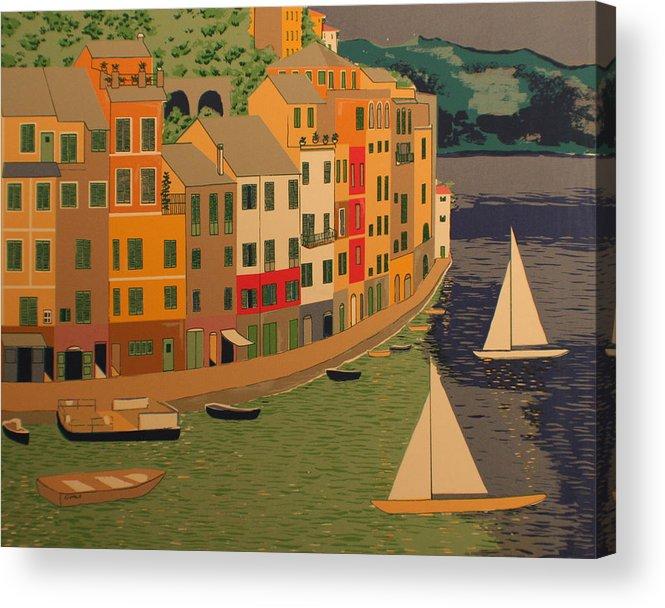 Harbor Acrylic Print featuring the painting pORTOFINO by Biagio Civale