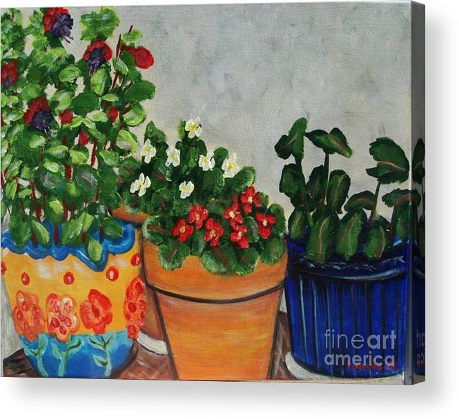 Ceramic Pots Acrylic Print featuring the painting Pots Showing Off by Laurie Morgan