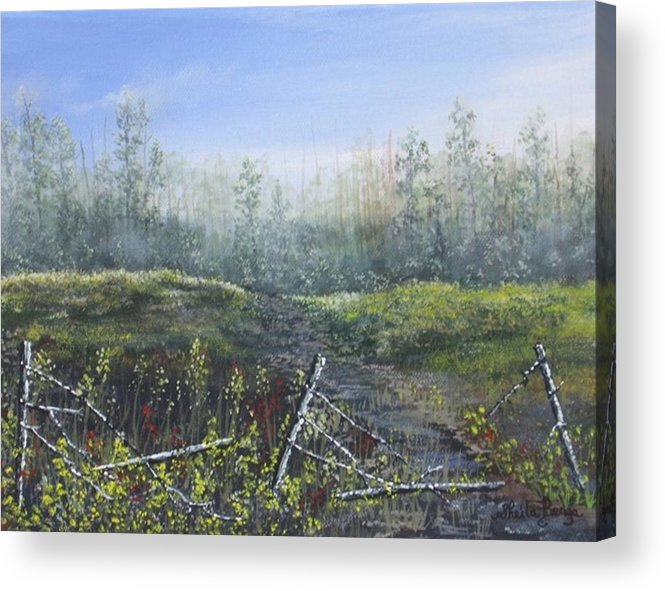 Landscape Acrylic Print featuring the painting Prairie Wild Flowers by Sheila Banga