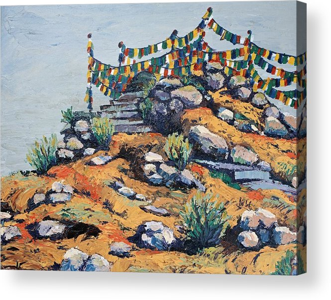 Buddhist Acrylic Print featuring the painting Prayer Flags in the Mist by Art Nomad Sandra Hansen