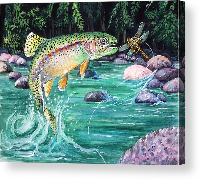 Fish Acrylic Print featuring the print Rainbow Trout by Bette Gray