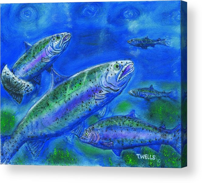 Rainbow Trout Acrylic Print featuring the painting Rainbow Trout Swimming by Tanna Lee M Wells