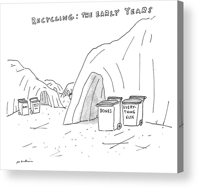 Recycling: The Early Years Acrylic Print featuring the drawing Recycling The Early Years by Michael Maslin