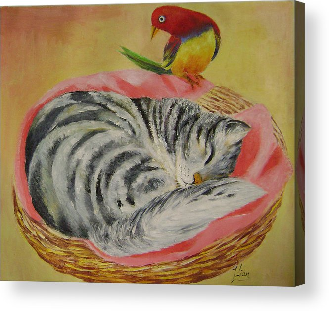 Naive Acrylic Print featuring the painting Red Bird by Lian Zhen