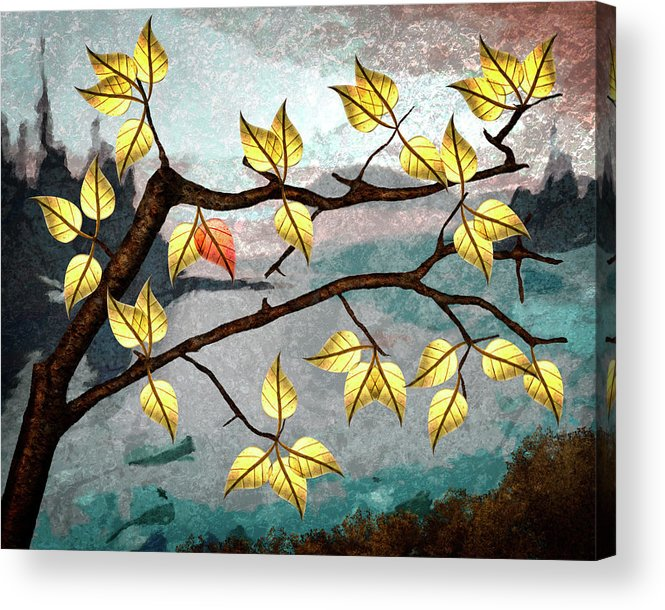 Digital Art Acrylic Print featuring the digital art Red Leaf by Ken Taylor