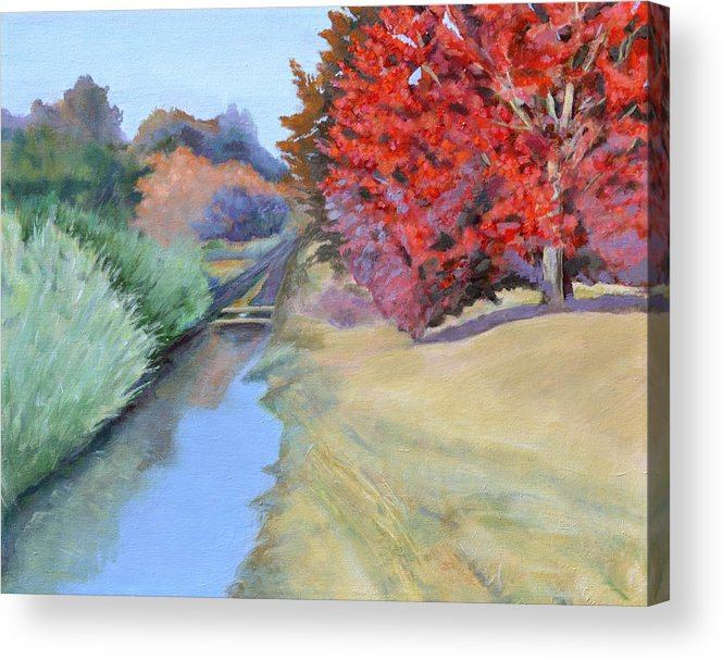 Landscape Acrylic Print featuring the painting Red Tree and River by Mary Chant