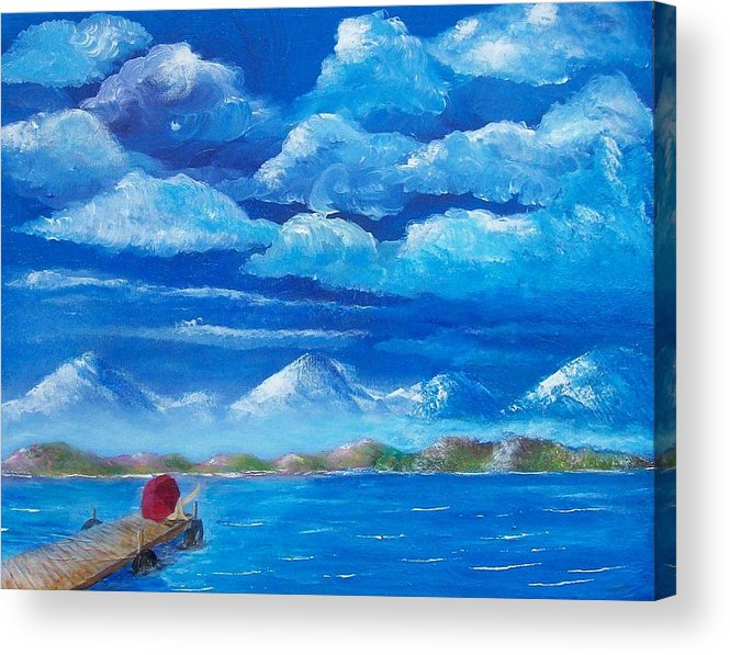 Seascape Acrylic Print featuring the painting Red umbrella IV by Tony Rodriguez