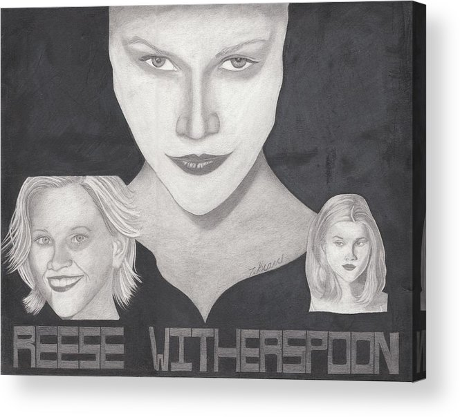 Reese Acrylic Print featuring the drawing Reese Witherspoon by Tara Kearce