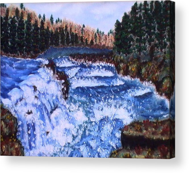 Pine Trees Acrylic Print featuring the painting River Falls by Tanna Lee M Wells