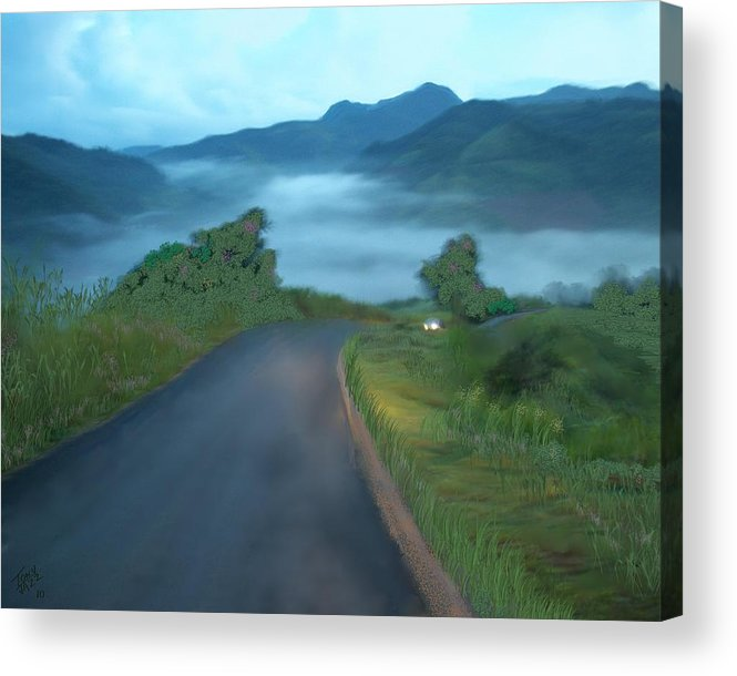 Landscape Acrylic Print featuring the digital art Road Less Traveled by Tony Rodriguez