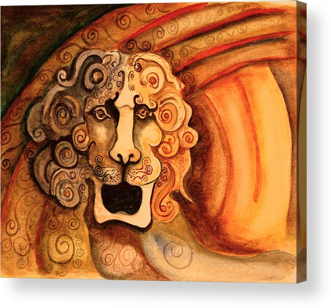 Sketch Acrylic Print featuring the painting Roaring Lion by Dan Earle
