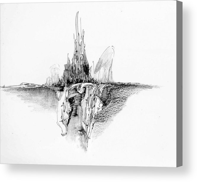 Landscape Acrylic Print featuring the drawing Rockscape 5 by Padamvir Singh