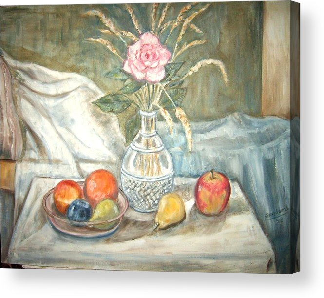 Still Life Fruit Rose Bottle Flowers Acrylic Print featuring the painting Rose with fruit by Joseph Sandora Jr