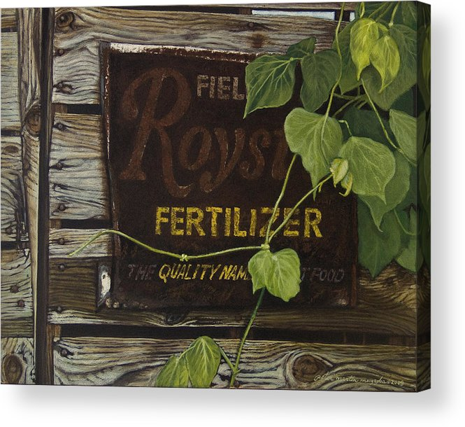 Landscape Acrylic Print featuring the painting Royston Fertilizer Sign by Peter Muzyka
