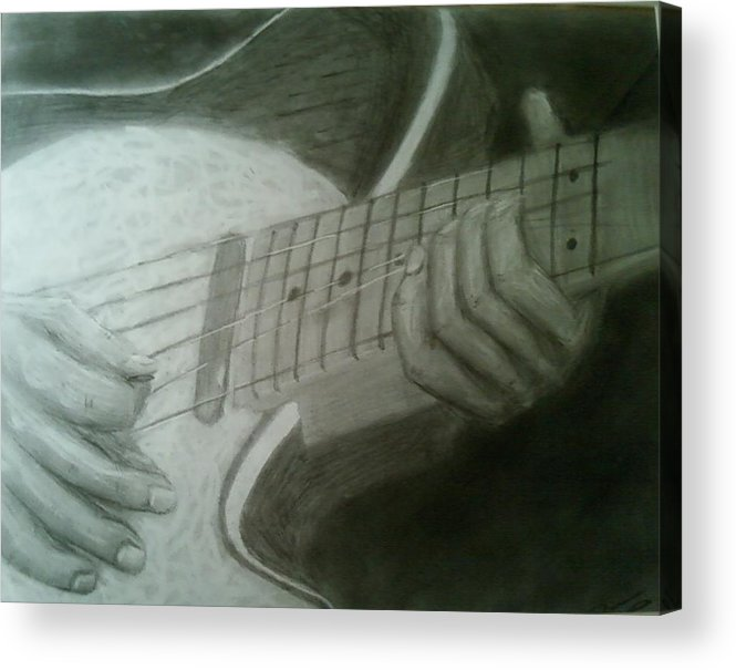 Guitar Acrylic Print featuring the drawing Ruby by Bruce Byrnes