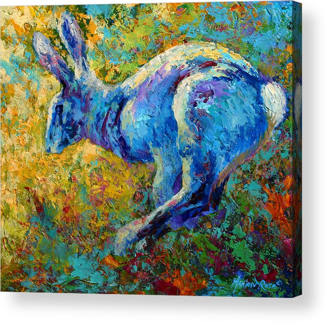 Rabbit Acrylic Print featuring the painting Running Hare by Marion Rose