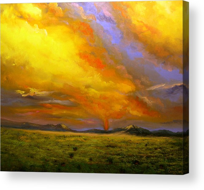 Connie Tom Acrylic Print featuring the painting Sacramento Mountain Sunrise by Connie Tom