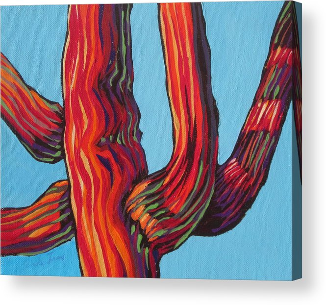 Saguaro Acrylic Print featuring the painting Saguaro 2 by Sandy Tracey