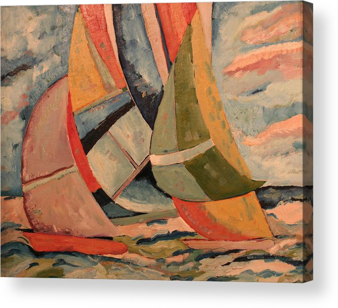 Acrylic Print featuring the painting Sailboats by Biagio Civale