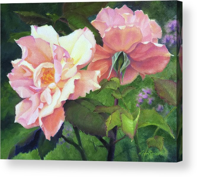 Rose Acrylic Print featuring the painting Salmon Roses by Teri Rosario