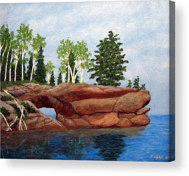 Landscape Paintings Acrylic Print featuring the painting Sea Cave by Frederic Kohli