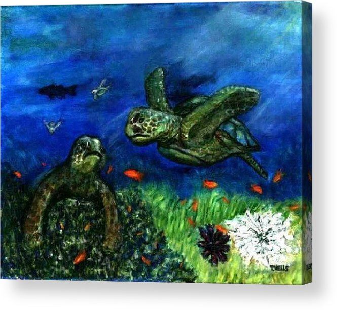 Sea Turtle Acrylic Print featuring the painting Sea Turtle Rendezvous by Tanna Lee M Wells