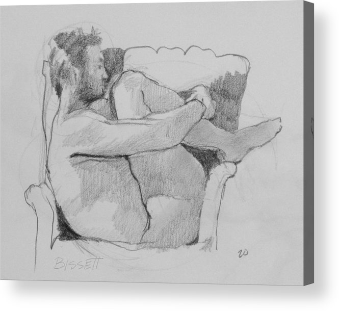 Life Acrylic Print featuring the drawing Seated Nude 1 by Robert Bissett