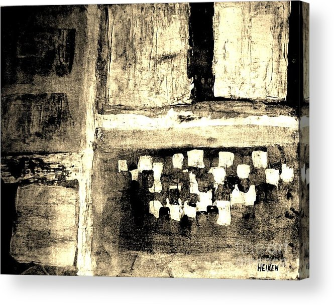 Painting Acrylic Print featuring the painting Sepia Squares by Marsha Heiken