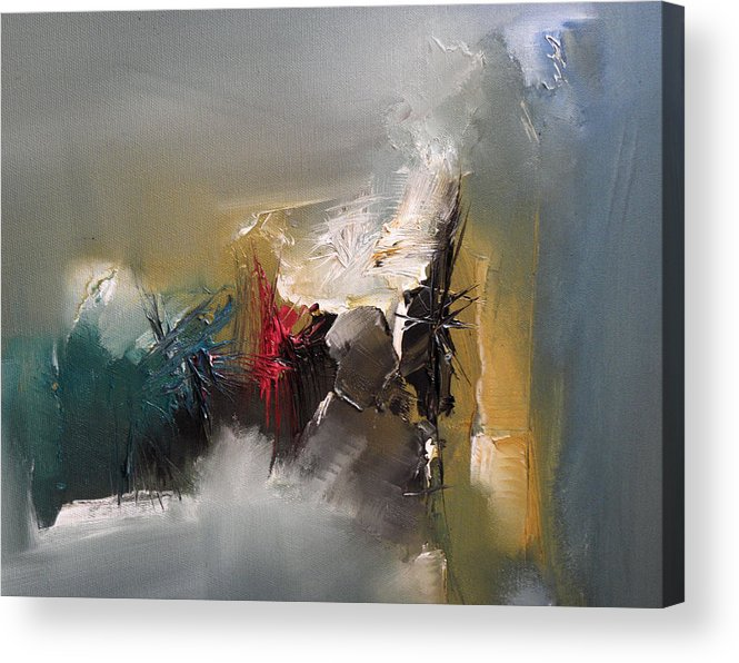 Lyrical Abstraction Acrylic Print featuring the painting Silence Hearing Itself by Stefan Fiedorowicz
