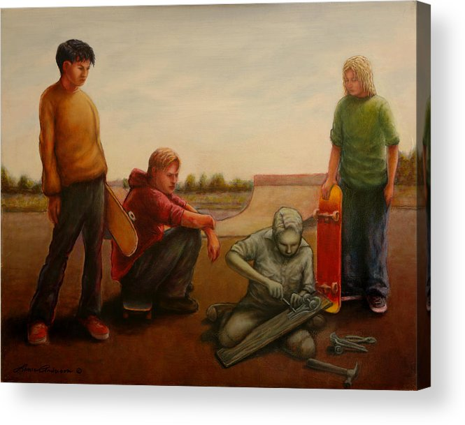 Skate Acrylic Print featuring the painting Skateboard Origins by Lance Anderson