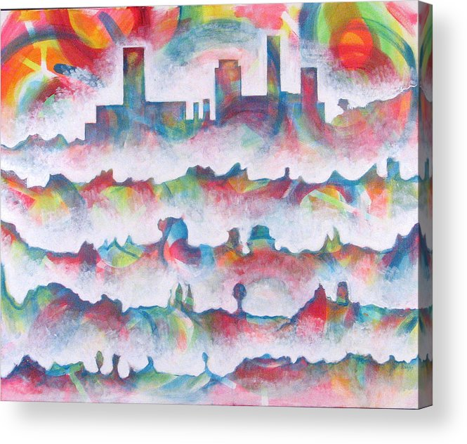 Cityscape Acrylic Print featuring the painting Skyline by Rollin Kocsis